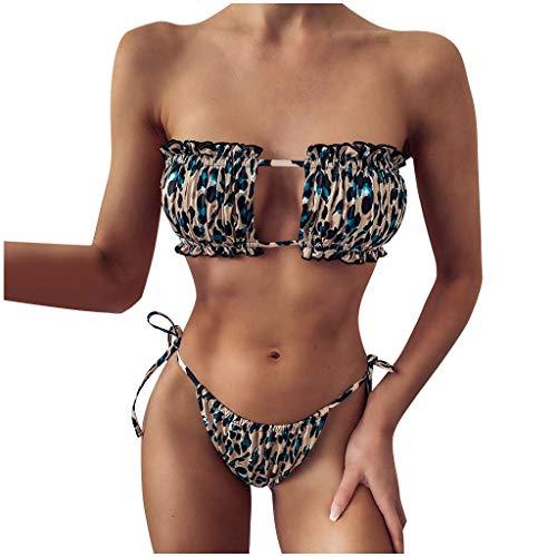 TJCJIEM Mujer Juego de Bikini Acolchado Cuadrado sin Tirantes de Dos Piezas, Moda Traje de Baño de Bikini Dividido de Cintura Alta, Bikinis Bañador para Verano Conjunto de Ropa de Playa para Mujeres
