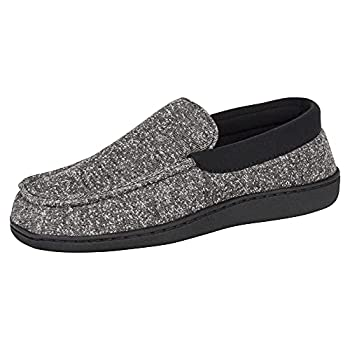 Hanes Men s Slippers House Shoes Moccasin Comfort Memory Foam Indoor Outdoor Fresh IQ  Large  9.5-10.5  Black