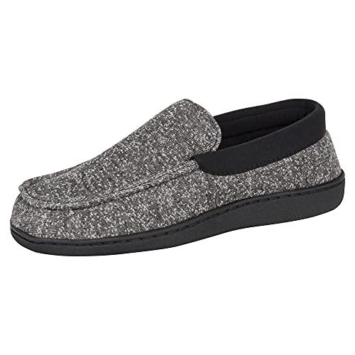 Hanes Men's ComfortSoft Memory Foam Moccasin Slipper House Shoe (X Large (11-12), Black)
