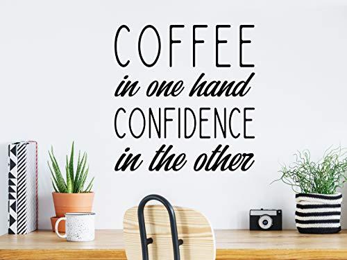 Koffie in de ene hand vertrouwen in de andere koffie aftrekplaatje koffie teken muur aftrekplaatje kantoor-aftrekplaatje keuken muur aftrekplaatje kantoorteken