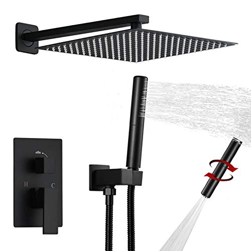 BESy Shower System with 12 Inch Rain Shower Head and Handheld Wall Mounted, High Pressure Rainfall Shower Faucet Fixture Combo Set with 2 in 1 Handheld Showerhead for Bathroom, Matte Black