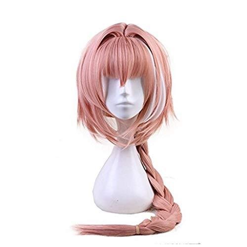 Ani·Lnc Perruque Anime Longue Rose Mixte Un Peu Blanche Cosplay Perruque avec Tresse Femme' Fête Cheveux Synthétique