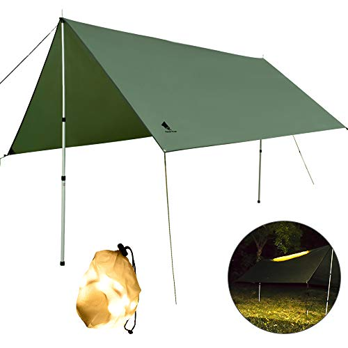 GEERTOP Camping Tent Tarp Shelter with LED Night Lightning, Lightweight Waterproof Beach Sunshade Hammock Rain Fly, 137x 117inch Large for Hiking,Backpacking,Pinic