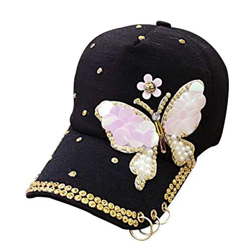 Casecover Lentejuelas para Mujer Gorras De Béisbol Mariposa Cristal Sombreros con Anillos para Damas