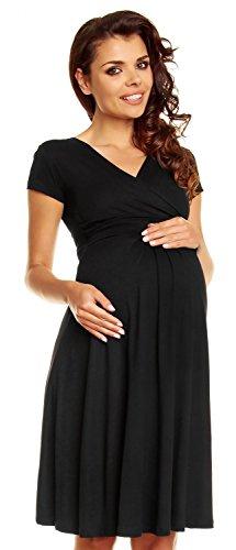Zeta Ville - Damen - Umstandskleid - Kurzarm - Sommerkleid für Schwangere - 108c (Schwarz, EU 44, 2XL)