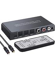 Convertidor 192kHz Audio Digital a Analógico 3 SPDIF Optico Toslink y 1 Coaxial a RCA L/R y Jack de 3.5 mm con Mando IR Soporte PCM Compatible con HDTV PS3 PS4 BLU-Ray Amplificador AV