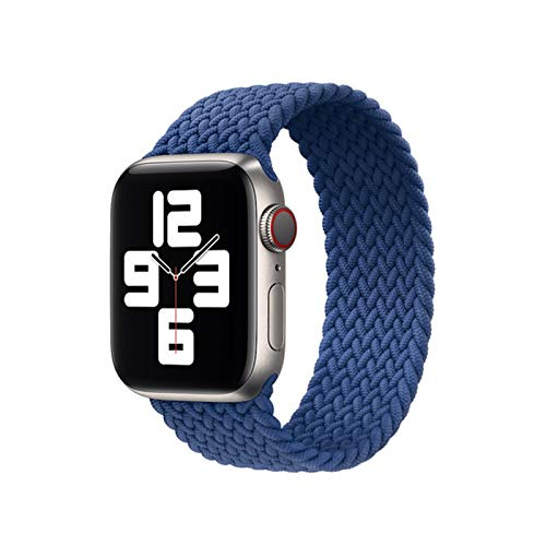 Flyuzi Correa de Bucle Solitario Trenzada for Banda de Reloj de Apple 40mm 44mm 38mm 42mm Pulsera Relojes elásticos Serie 7 6 SE 5 4 3 2 (Color : Blue, Size : M (38mm or 40mm))