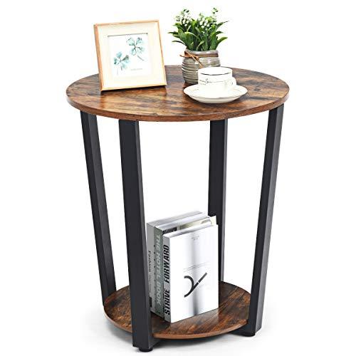COSTWAY Tavolino da caffè con Struttura in Metallo, Tavolino Rotondo Vintage a 2 Ripiani, Comodino Letto o Divano, da Camera da Letto o Salotto (Legno)