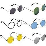 Dervin Gandhi Round Shape Retro UV Protection Multicolour Men's and Women's Sunglasses Shades