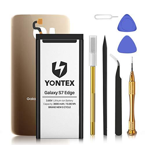 YONTEX Batería para Samsung S7 Edge con reemplazo de Vidrio Posterior y Kit Completo de Herramientas de reparación, 3600mAh 0 Cycle Battery Replacement (Oro)