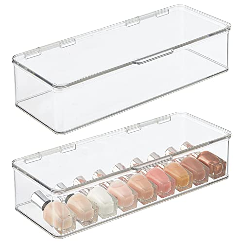 mDesign Juego de 2 cajas organizadoras para cosméticos – Organizador de maquillaje de plástico apilable – Caja con tapa para guardar maquillaje, sombras de ojos, etc. – transparente