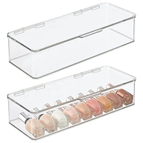 mDesign Set da 2 organizer per cosmetici – Portatrucchi impilabili in robusta plastica con coperchio a cerniera – Capienti porta trucchi per ombretti, cipria, eyeliner, rossetti – trasparente