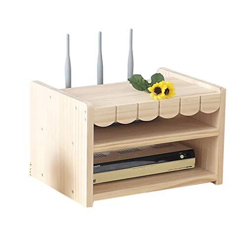Goede decoratie Creatieve Effen Houten TV Set-top Box Plank Desktop Dubbele laag Router Afwerking Doos Draadloze Wifi Stopcontact Modem Kat Opslag Plank
