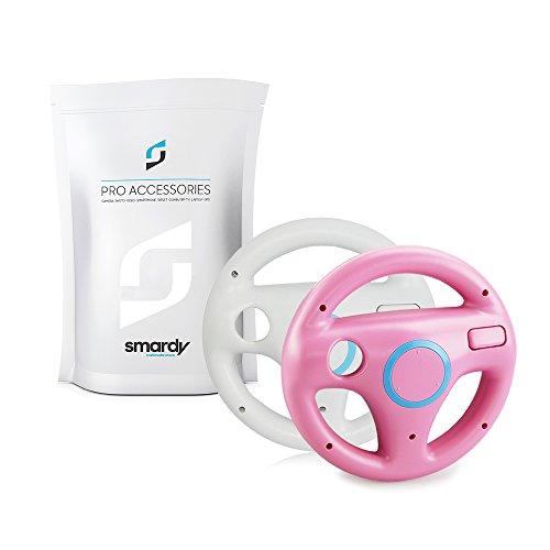 SMARDY Bundle - 2X Carreras/Racing Volante Steering Wheel para Nintendo Wii y Wii U Remote Blanco + Rosa