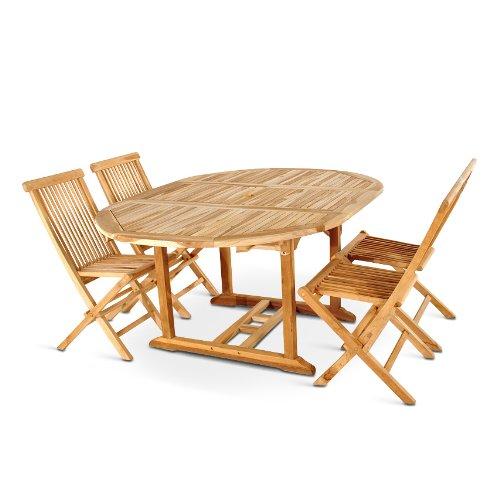 SAM Teak-Holz Massiv Gartengruppe 5tlg. 1x Ausziehtisch Borneo, 4X Klapp-Stuhl Menorca ohne Armlehnen