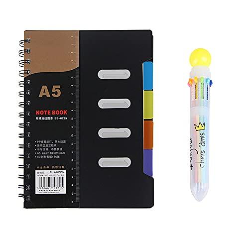 Furado Cuaderno A5, con hojas en blanco de color crema 260 páginas Cuaderno con Pestañas Divisorias y Bolígrafo de 10 Colores Cuaderno de espiral para negocios, para estudiantes oficina