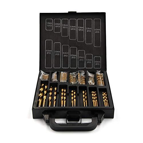 Trintion 99 Pcs HSS Drill Bit Set 1.5-10mm Mixed Titanium Coated High Speed Steel Twist Drill Bits Tools in Storage Box