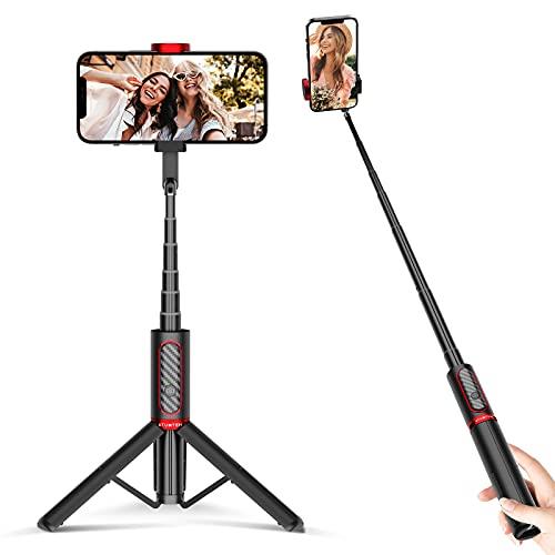 ATUMTEK Palo Selfie Trípode Bluetooth, Mini Extensible 3 en 1 Selfie Stick de Aluminio con Mando a Distancia Inalámbrico 270° Rotación para iPhone 12/11/XS MAX/XS/XR/X/8 Plus/8, Samsung S10