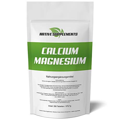 350 Tabletten Calcium & Magnesium, 1200mg Komplex/Tagesdosis, Extra Rein, Hochdosiert und für Veganer geeignet, Kalzium Pharmaqualität