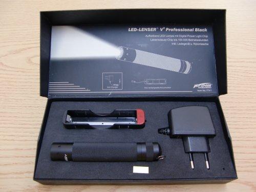 led-taschenlampe V² professionale nero, incl. Akku, Ladegerät und Nylonetui