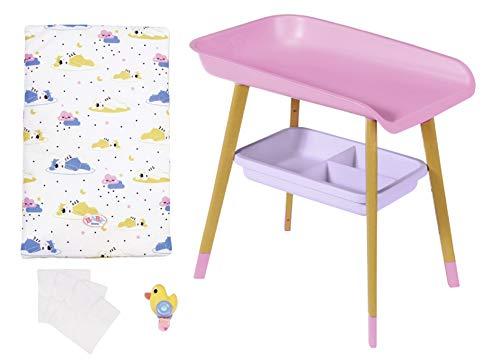 Zapf Creation 829998 BABY born rosa Wickeltisch mit Holz-Optik und abnehmbaren Tuch-Halter