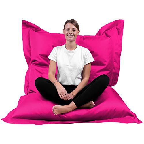B58 Sitzsack Rechteckig Riesensitzsack Beanbag Sitzkissen Indoor Outdoor Sitzsäcke Kinder Bodenkissen Erwachsene Freizeit Schule Kindergarten Lounge (XL-XXXXL; 12 Farben)(XXL= 160 x 120, Pink)