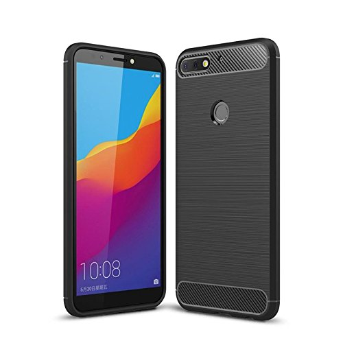 CoverKingz Handyhülle für Huawei Y7 Prime 2018 / Huawei Y7 2018 - Silikon Handy Hülle Honor 7C - Soft Hülle Carbon Farben schwarz
