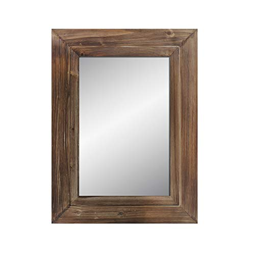 Barnyard Designs Decorative Torched Wood Frame 61cm x 81.5cm Wall Mirror, Large Rustic Farmhouse Mirror Decor, Vertical or Horizontal Hanging, For Bathroom Vanity, Living Room or Bedroom, Brown