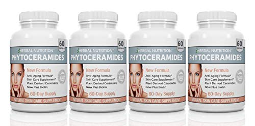Phytoceramides Rice Based with Biotin Vitamin A C D and E, 4 Bottle Pack 40mg