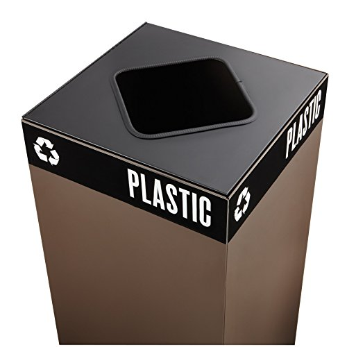 Safco Products 2989BL Public Square Recycling Trash Can Lid, Square Cutout for Plastic and (Base sold separately), Black