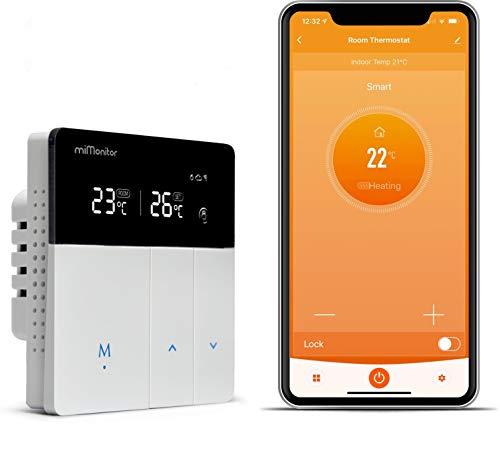 miMonitor Smart WiFi Thermostat für Heizkessel - 230V und Volt frei umschalten, Smart App Steuerung Kompatibel mit Alexa und Google Assistant