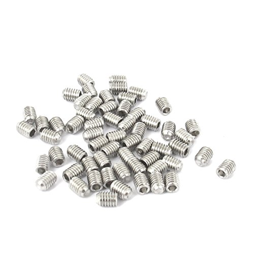 uxcell M3x4mm Stainless Steel Hex Socket Set Cap Point Grub Screws 50pcs
