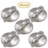 WB03K10303 Cooktop Control Knob Full Body Metal for Stove Surface Burner (5packs)