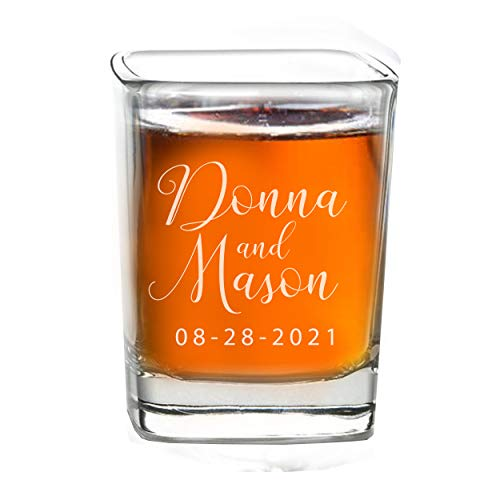 Personalized Shot Glass Wedding Favors - Custom Engraved Take a Shot We Tied the Knot Shot Glasses, Gift for Guests, Couples, Engagement (3)