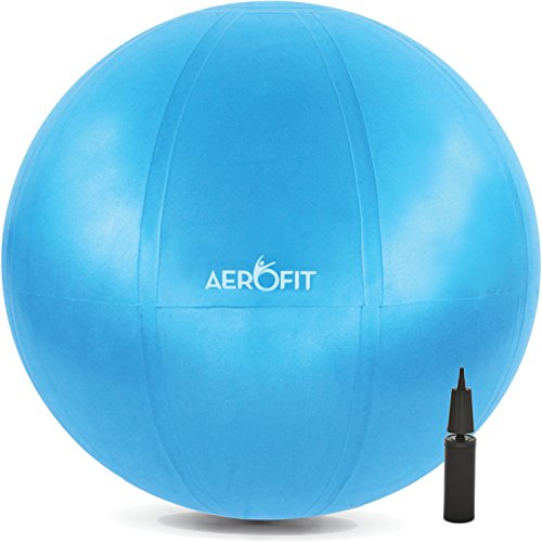Exercise Stability Ball 65cm 26inches Medium - For Yoga Balance Fitness Pilates Workout Birthing Gym - Non Toxic Anti Burst with Pump