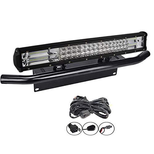 SKYWORLD LED-Lichtleiste, 7D, 20 Zoll, 288 W Spot-Flood-Kombistrahl-Arbeitsscheinwerfer mit schwarzer Kennzeichenhalterung Kabelbaum-Kit für LKW-PKW-ATV-SUV-4x4-LKW-Boot