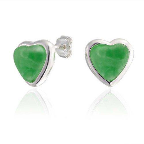 Piedras Preciosa Teñido De Verde Jade Bisel En Forma De Corazón Pendiente De Boton Juego De Para Mujer Para Novia 925