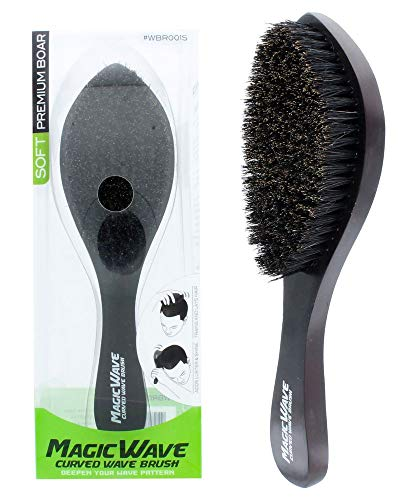 Black Ice Magic Wave 9.25'' Curved Wave Brush Soft Premium Boar by Black Ice