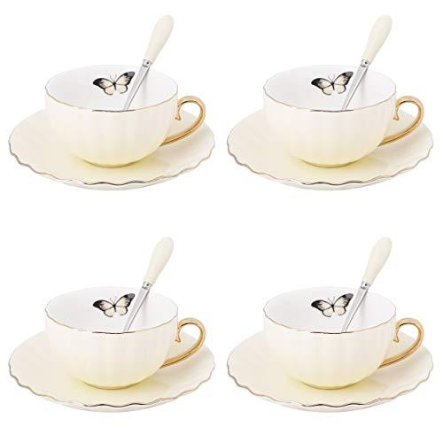 Artvigor, 12 TLG. Porzellan Kaffee Set, Kaffeeservice, mit je 4 Kaffeetassen 180 ml, Löffel und Untertassen, Gelb + Weiß