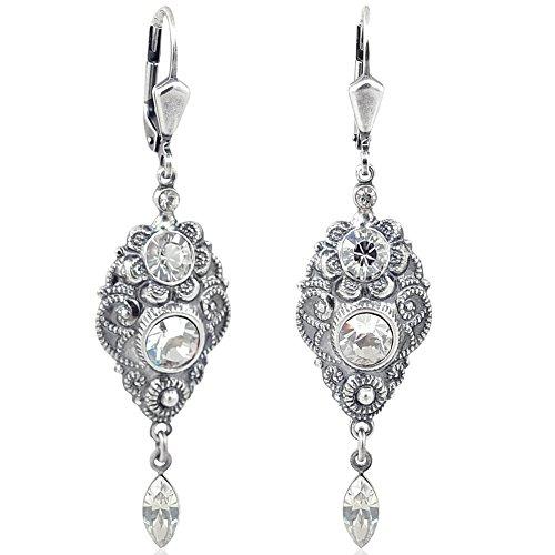 Jugendstil Ohrringe mit Kristallen von Swarovski® Silber Grau NOBEL SCHMUCK
