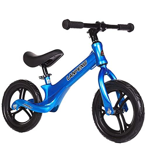 Yxxc Bicicleta de Equilibrio Deslizante para niños de Dos Ruedas y 12 Pulgadas sin Freno de pie (Negro, Rojo, Azul)