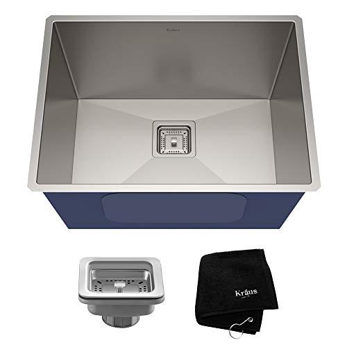 KRAUS Pax 24-inch 18 Gauge Undermount Single Bowl Stainless Steel Laundry and Utility Sink, KHU24L (Renewed)