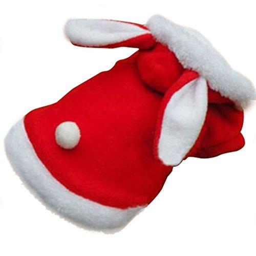 Ropa del traje del perrito del otoño y del invierno,AZX,Perro Gato Sudaderas Invierno De Terciopelo De Conejo Ropa Para Mascotas (S, Rojo)
