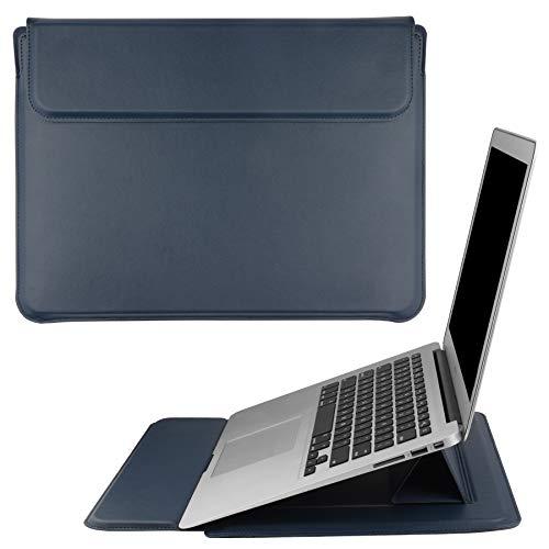 """HoYiXi 15.4"""" Housse de Protection pour Laptop Portable en Cuir PU Étui Case avec Support Laptop Sleeve Compatible avec 15.4'' MacBook Pro 15/MacBook Pro 16'' 2019 A2141/15'' Surface Laptop 3, Bleu"""