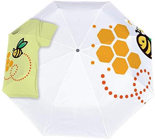 Dreifach gefalteter manueller Regenschirm Honey Bee Seamless Pattern Stoffhemd Textil Nano Dreifach faltbarer Regenschirm Sonnenschutz mit großem Durchmesser, der Sonne und Regen abdeckt