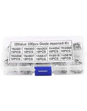 100Pcs 10Values Rectifier Diode Surtido Kit High Efficiency Electronic Rectifier Diode Assortment 1N4001~1N5819 Con caja para convertir la alimentación de CA en alimentación de CC