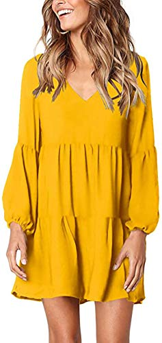 Chvity Women's Casual Long Sleeve V Neck Pleated Flowy Tunic Dress, Yellow, M