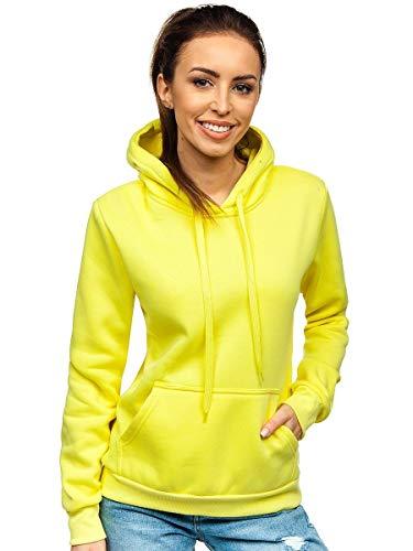 BOLF Damen Sweatshirt Classic Sweater Pulli Kapuzenpullover Langarmshirt Rundhalsausschnitt Farbvarianten Crew Neck Longsleeve Fitness Motiv Sport J.Style W02 Gelb-Neon M [A1A]