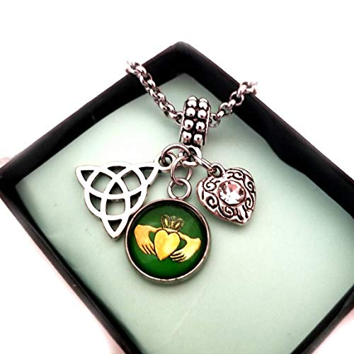 Celtic Knot Claddagh Irish Charm with Bracelet Necklace, for Women, Trinity Triquetra Pendant, Friendship Love Honor Jewelry gift