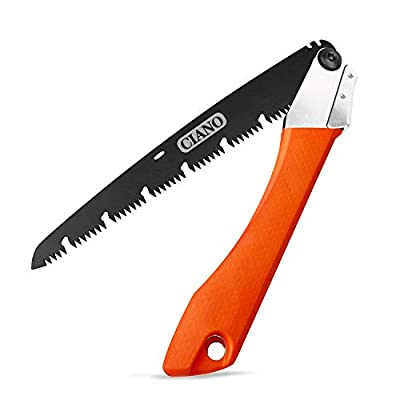 CIANO 10-Inch Folding Saw, Bidirectional Adjustable Angle Camping Saw - Garden Saw with Chip Relief Design and Safety Lock,Good for Trimming,Garden,Camping,and Wood Cutting.